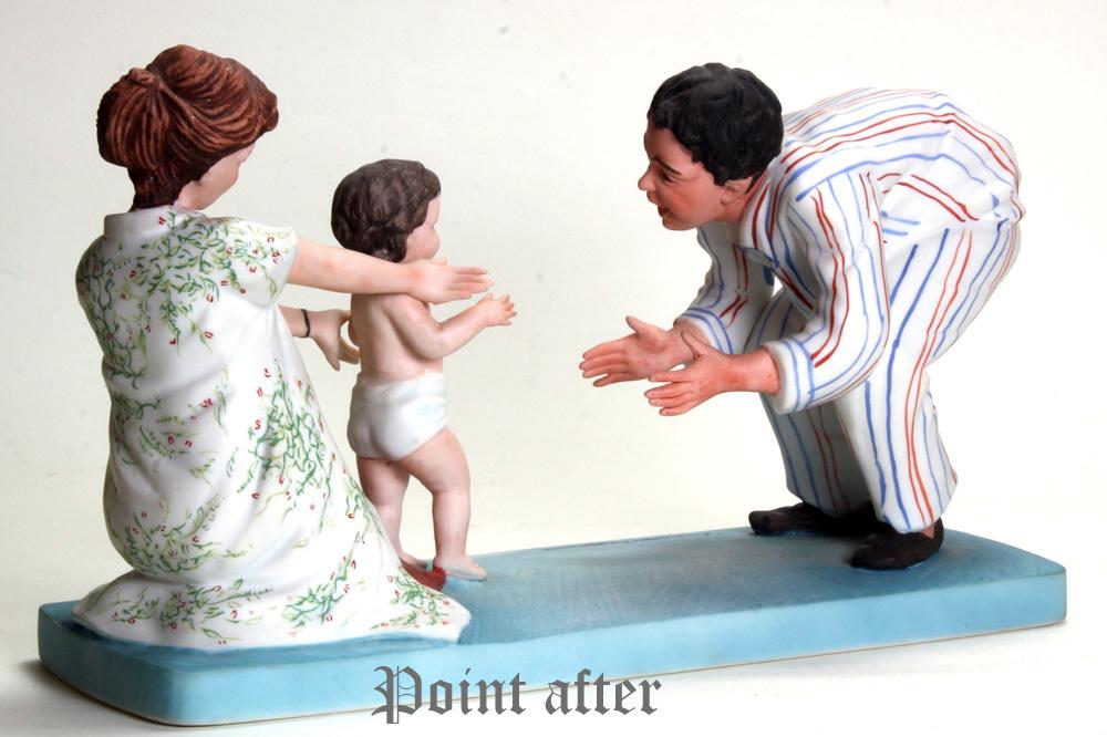 ノーマン ロックウェル 陶器人形 Baby's Fist Step はじめの一歩 1979年 日本製 限定品,美品,元箱, 出産祝い アメリカンファミリーシリーズ_画像10