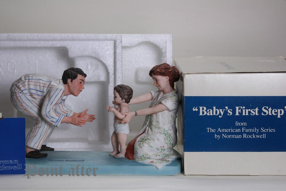 ノーマン ロックウェル 陶器人形 Baby's Fist Step はじめの一歩 1979年 日本製 限定品,美品,元箱, 出産祝い アメリカンファミリーシリーズ_画像3