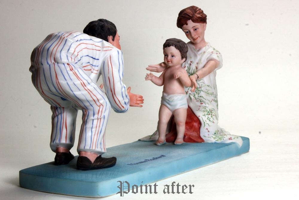 ノーマン ロックウェル 陶器人形 Baby's Fist Step はじめの一歩 1979年 日本製 限定品,美品,元箱, 出産祝い アメリカンファミリーシリーズ_画像7