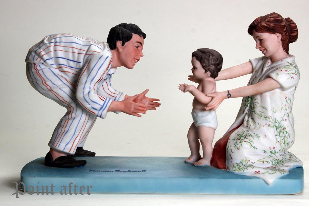 ノーマン ロックウェル 陶器人形 Baby's Fist Step はじめの一歩 1979年 日本製 限定品,美品,元箱, 出産祝い アメリカンファミリーシリーズ_画像1