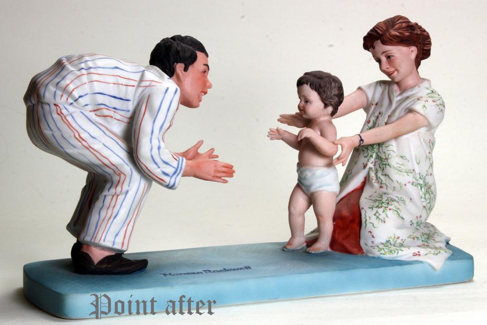 ノーマン ロックウェル 陶器人形 Baby's Fist Step はじめの一歩 1979年 日本製 限定品,美品,元箱, 出産祝い アメリカンファミリーシリーズ_画像6