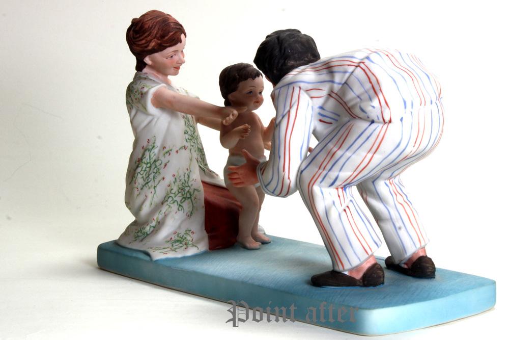 ノーマン ロックウェル 陶器人形 Baby's Fist Step はじめの一歩 1979年 日本製 限定品,美品,元箱, 出産祝い アメリカンファミリーシリーズ_画像8