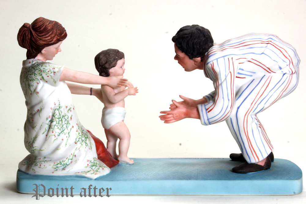 ノーマン ロックウェル 陶器人形 Baby's Fist Step はじめの一歩 1979年 日本製 限定品,美品,元箱, 出産祝い アメリカンファミリーシリーズ_画像9
