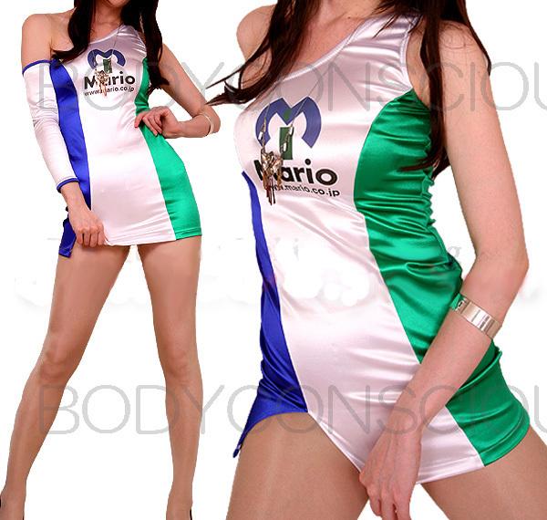 イベント・レースクィーン・白×ブルー×グリーンの羽色OPロゴ入りコスチューム(M)