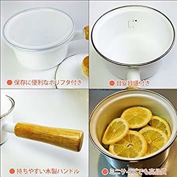 ホワイト 富士ホーロー ミニソースパン 12cm ポリフタ付 ホワイト_画像2