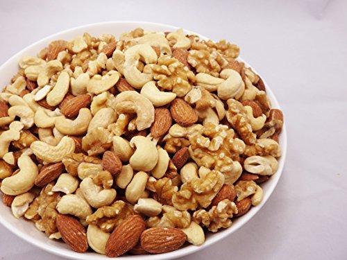 ミックスナッツ 1kg 大粒3種(新物生くるみ、素焼きカシュー、素焼きアーモンド)無添加 無塩 食物油不使用 チャック袋入り ア_画像3