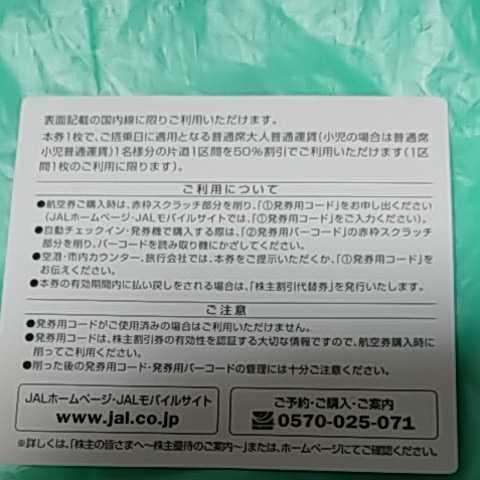 JAL 日本航空 株主割引券_画像2