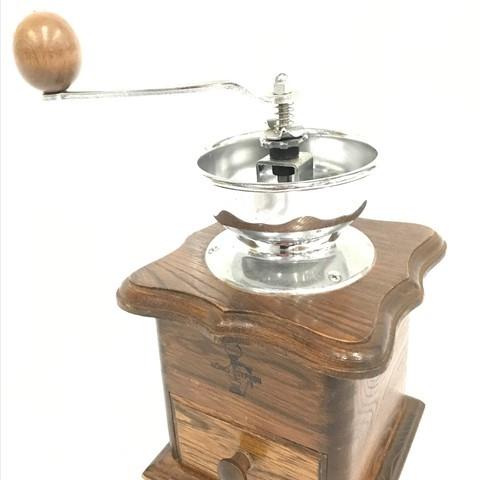 河野 KONO SYPHON 手動式 手挽き コーヒーミル アンティーク 木製 高さ約25cm 15×14cm QR043-7
