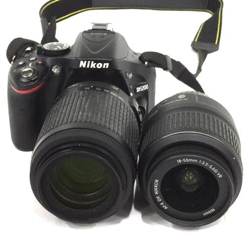 Nikon D5200 デジタル一眼レフカメラ ボディ AF-S NIKKOR 18-55mm 3.5-5.6 G 55-200mm 4-5.6 G ED レンズ QC044-28