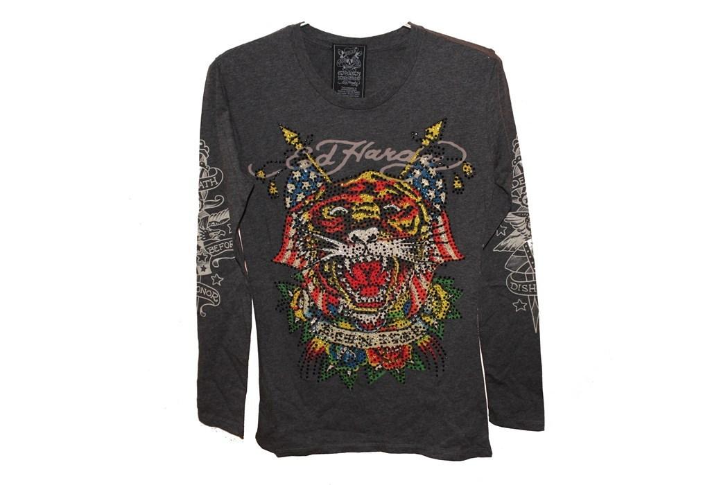 エドハーディー ED HARDY レディース 長袖 Tシャツ グレー Sサイズ TIGER 新品_画像1
