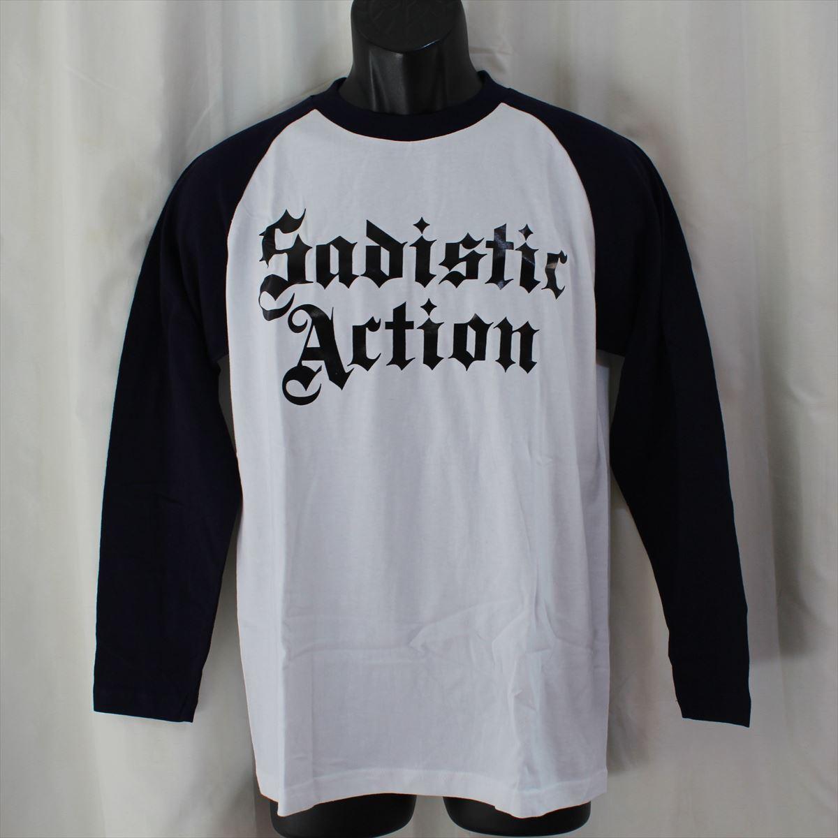 サディスティックアクション SADISTIC ACTION メンズ長袖Tシャツ Mサイズ NO15 新品_3枚目の画像の首回りの色が袖首回りの紺色