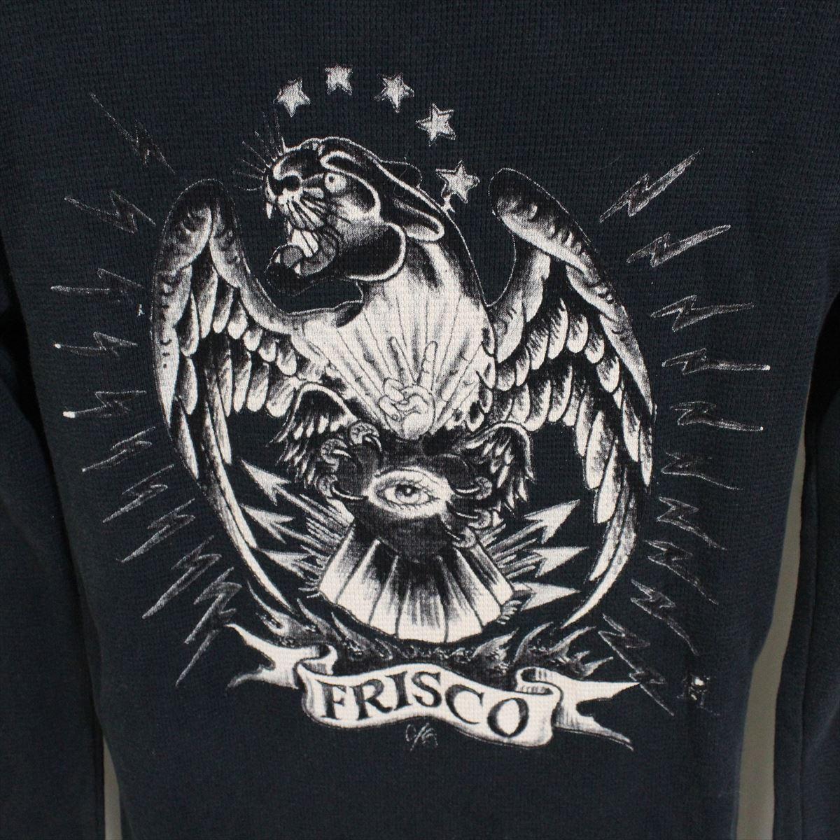 エドハーディー ED HARDY メンズ長袖サーマルTシャツ ブラック Sサイズ HR195 新品_画像5