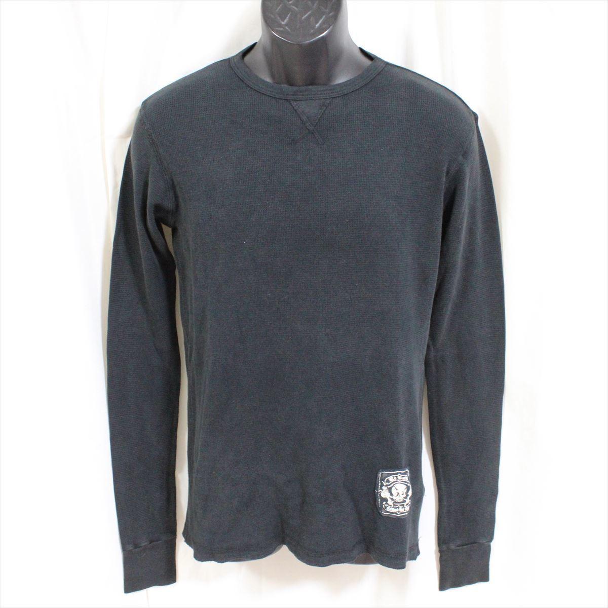 エドハーディー ED HARDY メンズ長袖サーマルTシャツ ブラック Sサイズ HR195 新品_画像1