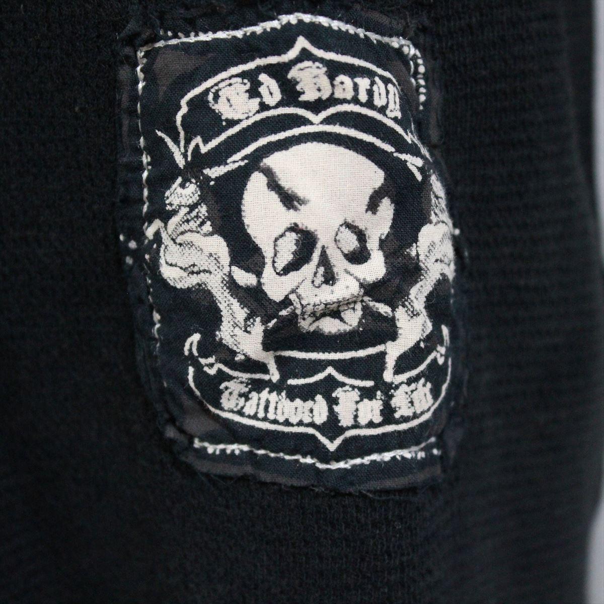 エドハーディー ED HARDY メンズ長袖サーマルTシャツ ブラック Sサイズ HR195 新品_画像2