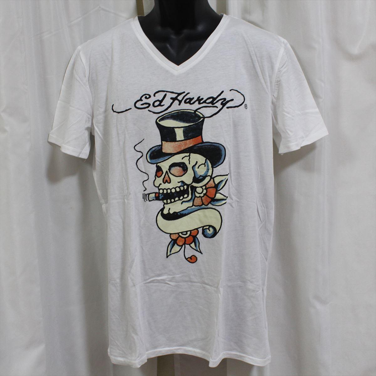 エドハーディー ED HARDY メンズ半袖Tシャツ ホワイト Lサイズ HB128 新品 スカル ドン・エド・ハーディー_画像1