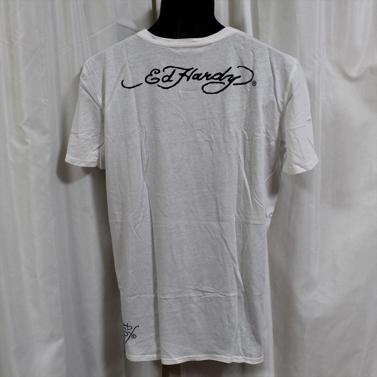 エドハーディー ED HARDY メンズ半袖Tシャツ ホワイト Lサイズ HB128 新品 スカル ドン・エド・ハーディー_画像3