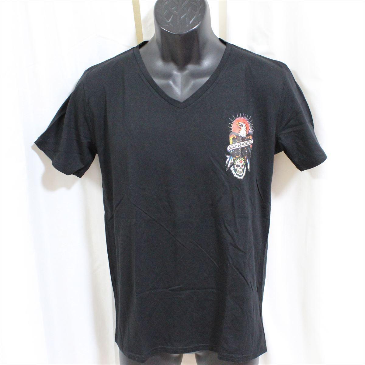 エドハーディー ED HARDY メンズ半袖Tシャツ M02CMV028 ブラック Lサイズ 新品 ドン・エド・ハーディー_画像1