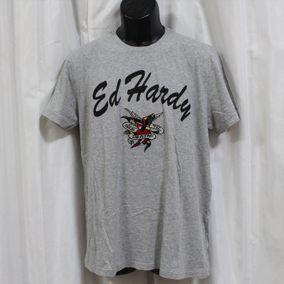 エドハーディー ED HARDY メンズ半袖Tシャツ グレー Sサイズ FG276 新品_画像1
