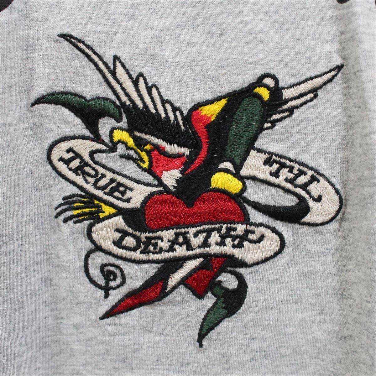 エドハーディー ED HARDY メンズ半袖Tシャツ グレー Sサイズ FG276 新品_画像3
