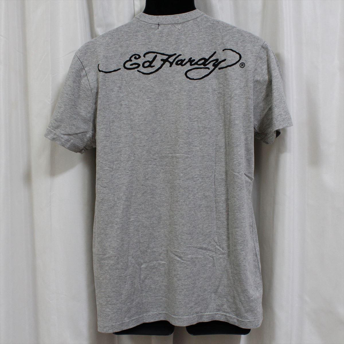 エドハーディー ED HARDY メンズ半袖Tシャツ グレー Mサイズ FG276 新品_画像4