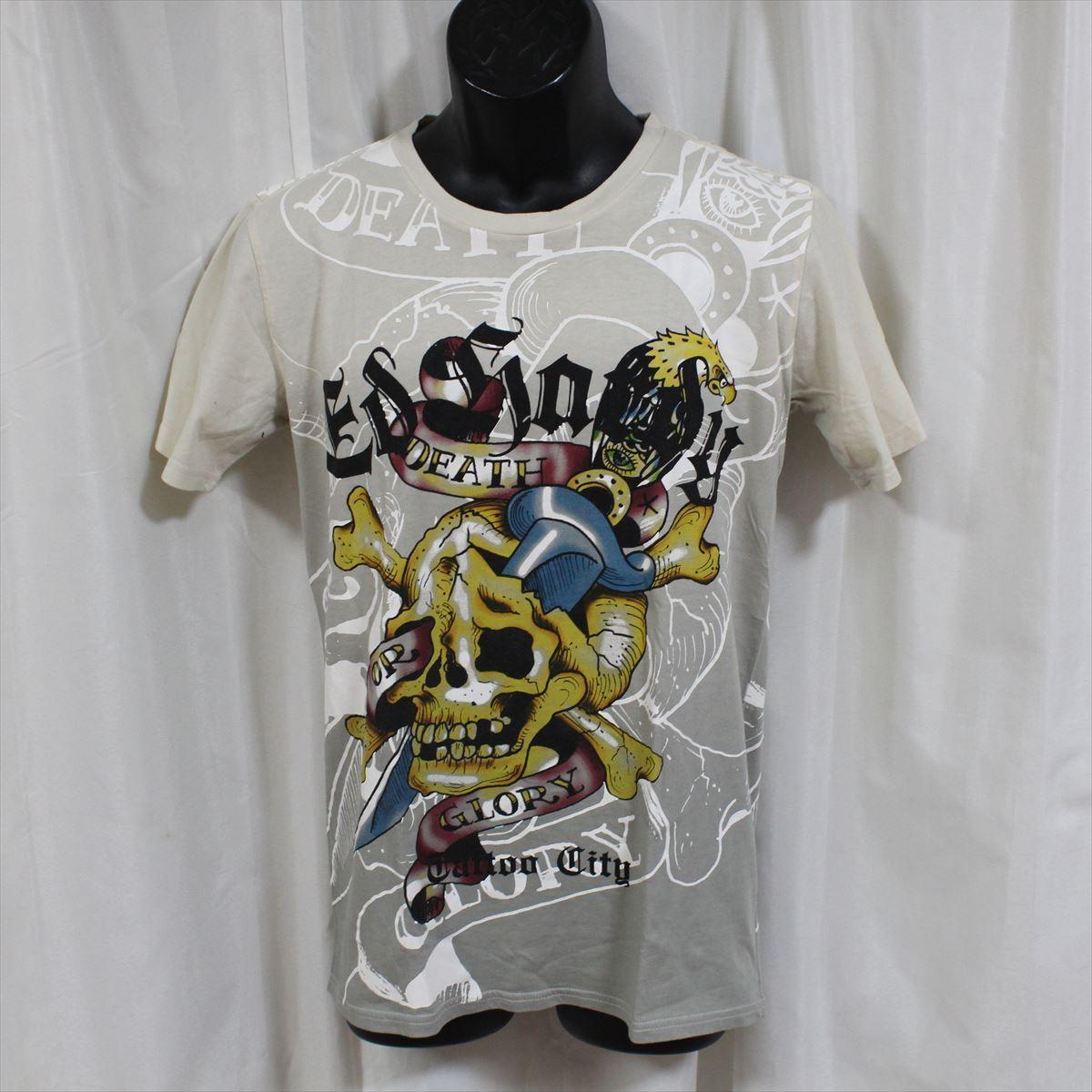 エドハーディー ED HARDY メンズ半袖Tシャツ Mサイズ TC301 グレー 新品_画像1