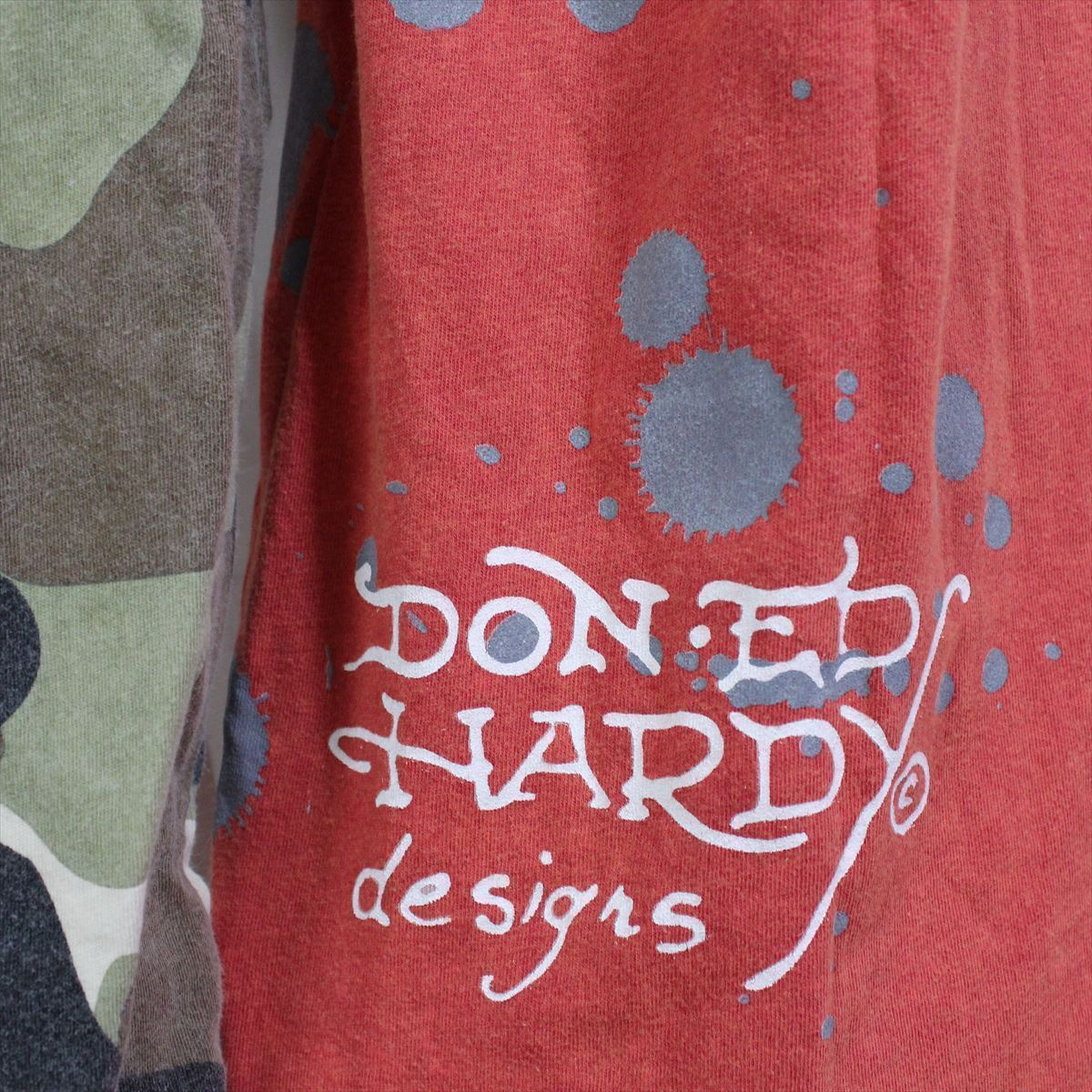 エドハーディー ED HARDY メンズダブルスリーブTシャツ レッド Lサイズ M03VDS005 新品 長袖_画像3