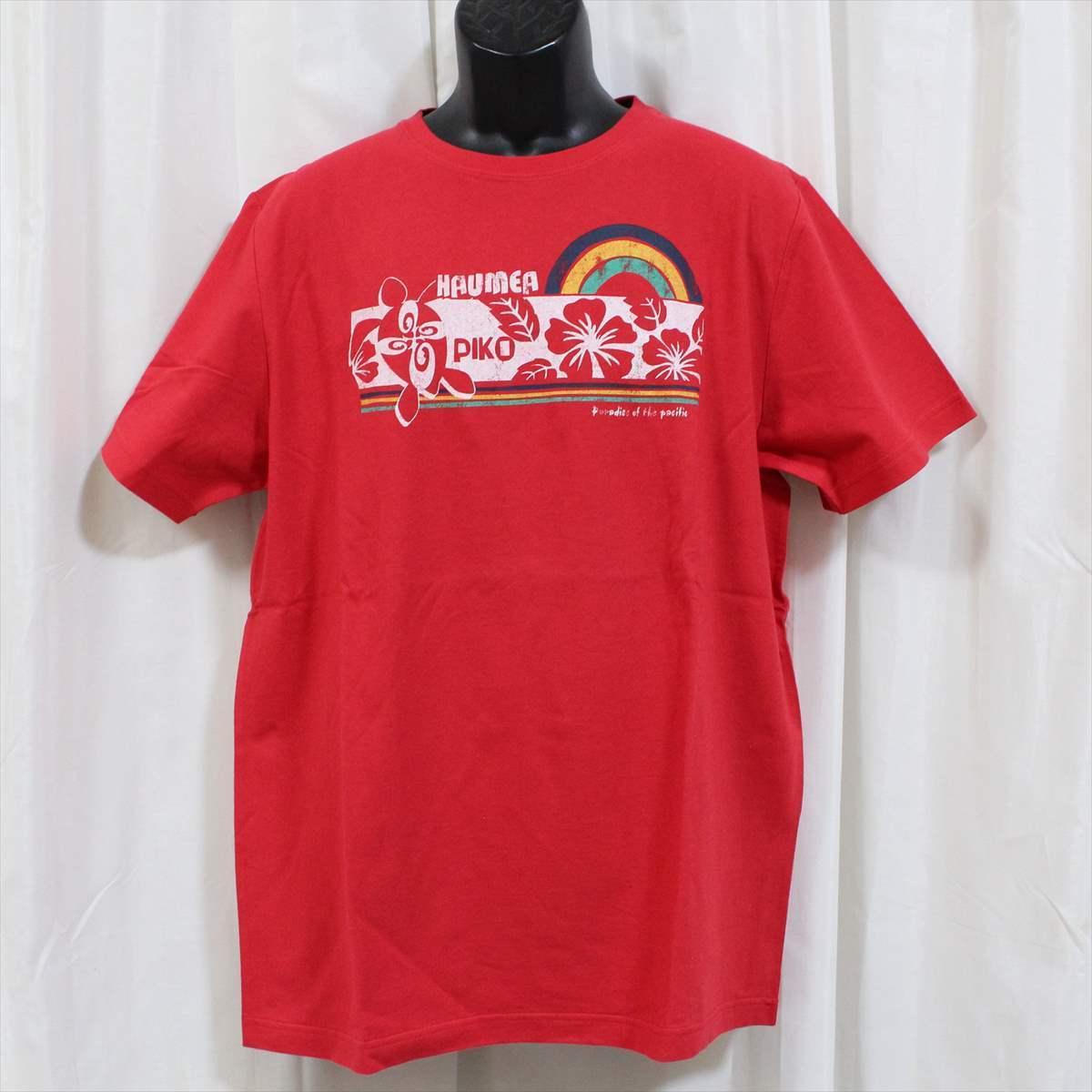 ピコ PIKO メンズ半袖Tシャツ レッド XLサイズ 新品 HAWAIIAN LONGBOARD WEAR 赤_画像1