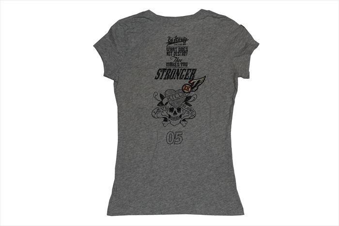 エドハーディー ED HARDY レディース 半袖 Vネック Tシャツ グレー XSサイズ PP052 新品_画像3
