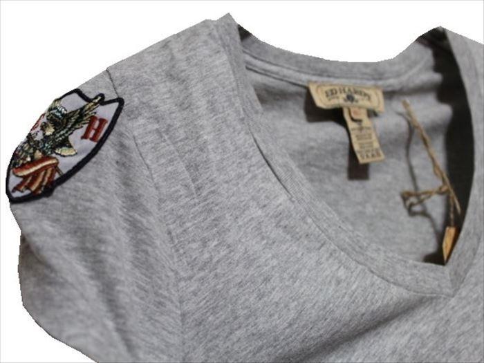 エドハーディー ED HARDY レディース 半袖 Vネック Tシャツ グレー XSサイズ PP052 新品_画像2