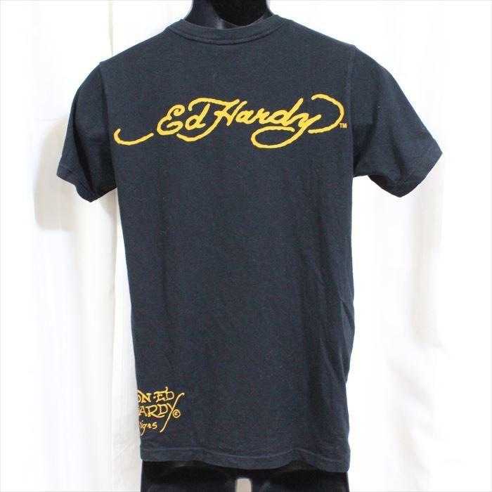 エドハーディー ED HARDY メンズ半袖Tシャツ ブラック Sサイズ FREE AGENT 新品_画像3