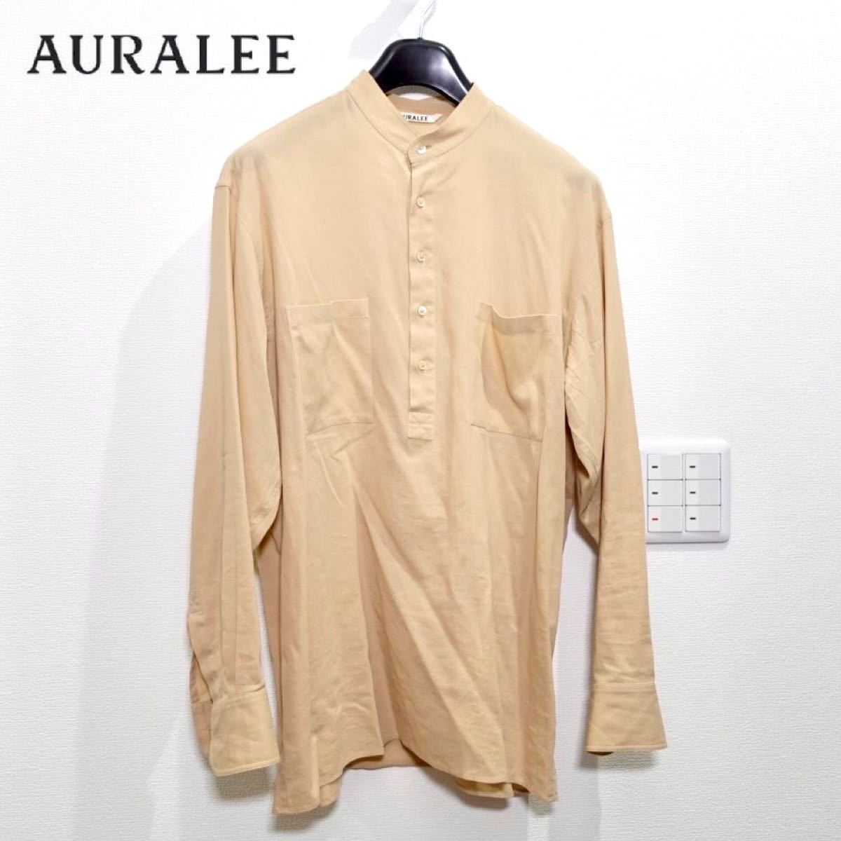 AURALEE オーラリー ノーカラー シャツ ナチュラル メンズ 3