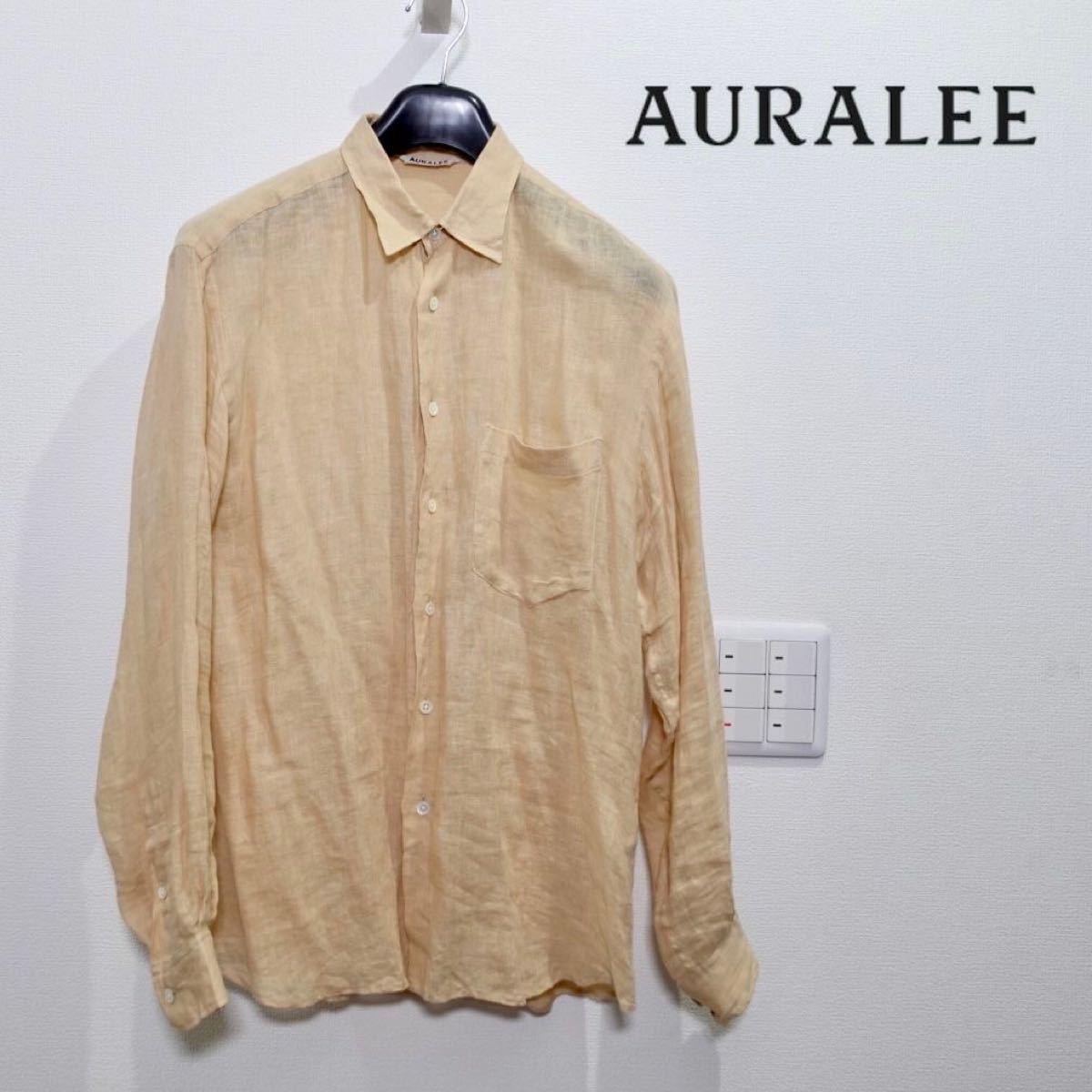 AURALEE オーラリー リネンシャツ ナチュラル 3 メンズ