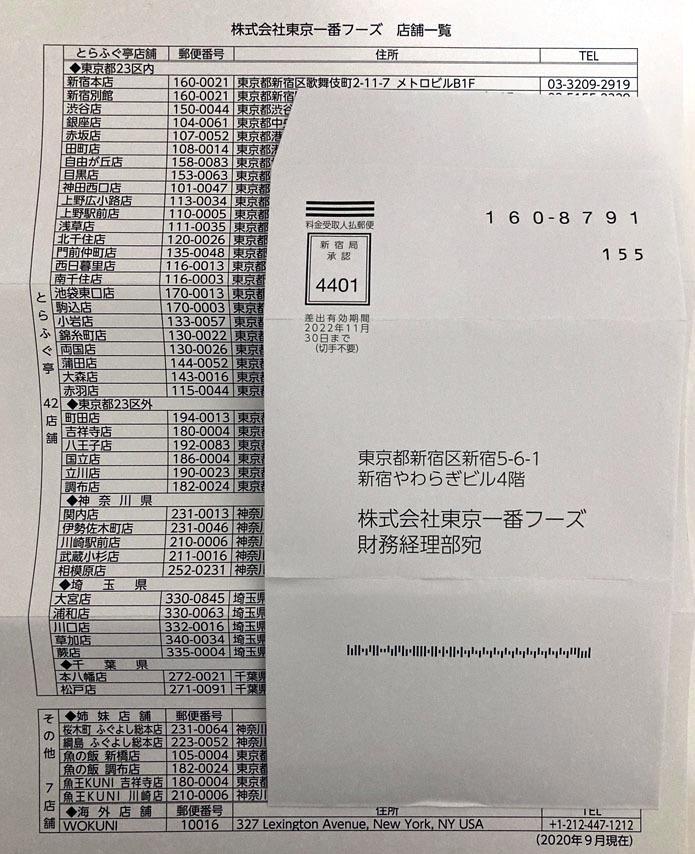 お取り寄せも可能★送料込☆東京一番フーズ 株主優待券 3枚 期限2021年6月末_画像3
