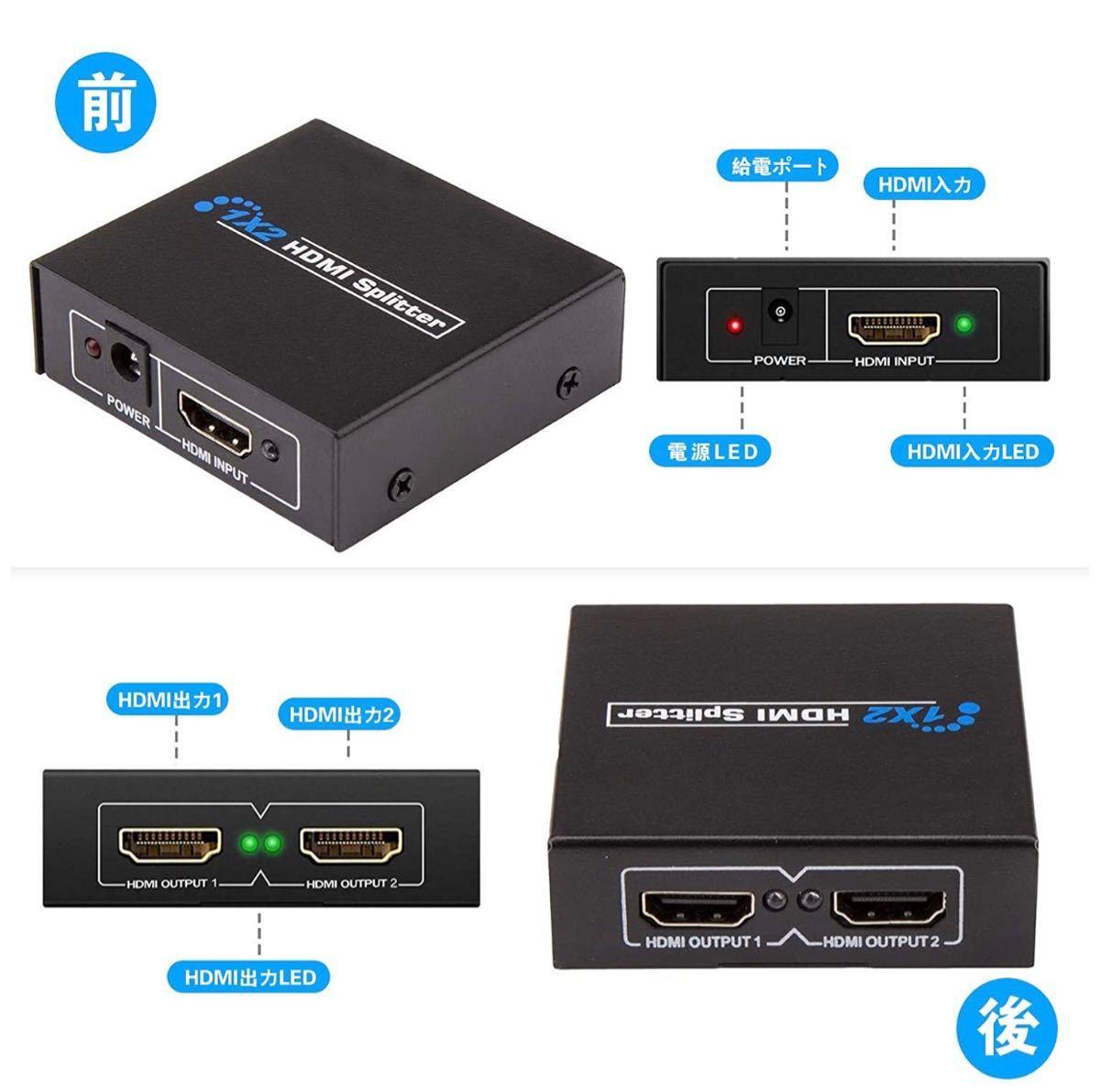 HDMI 分配器 1入力2出力 HDMIスプリッター HDMI 切替器 4K
