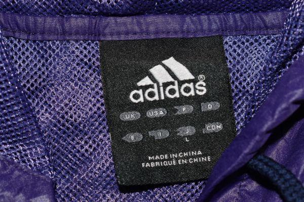☆古着 adidas アディダス ウィンドブレーカー ナイロン パーカー ロゴ刺繍 紫パープル【L】ポリエステル     ◆2965◆_画像3