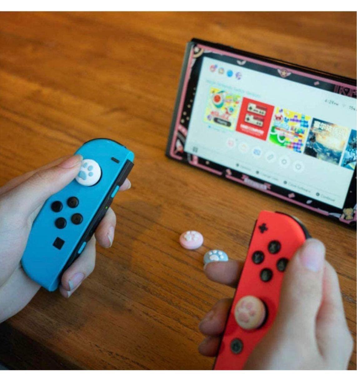 Switch ジョイコン スティックカバー 肉球 セット Switch lite