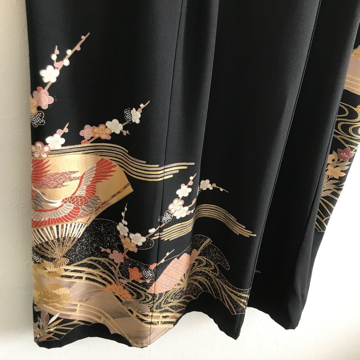 着物リメイク ワンピース ドレス 黒留袖 正絹 鶴 花 渡橋