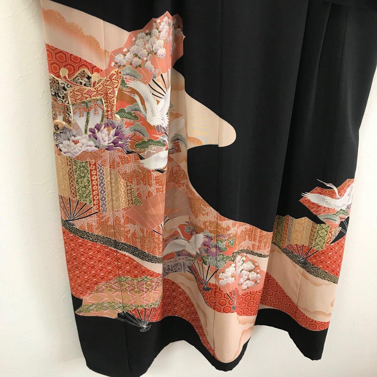 着物リメイク ワンピース ドレス 黒留袖 扇 鶴 正絹