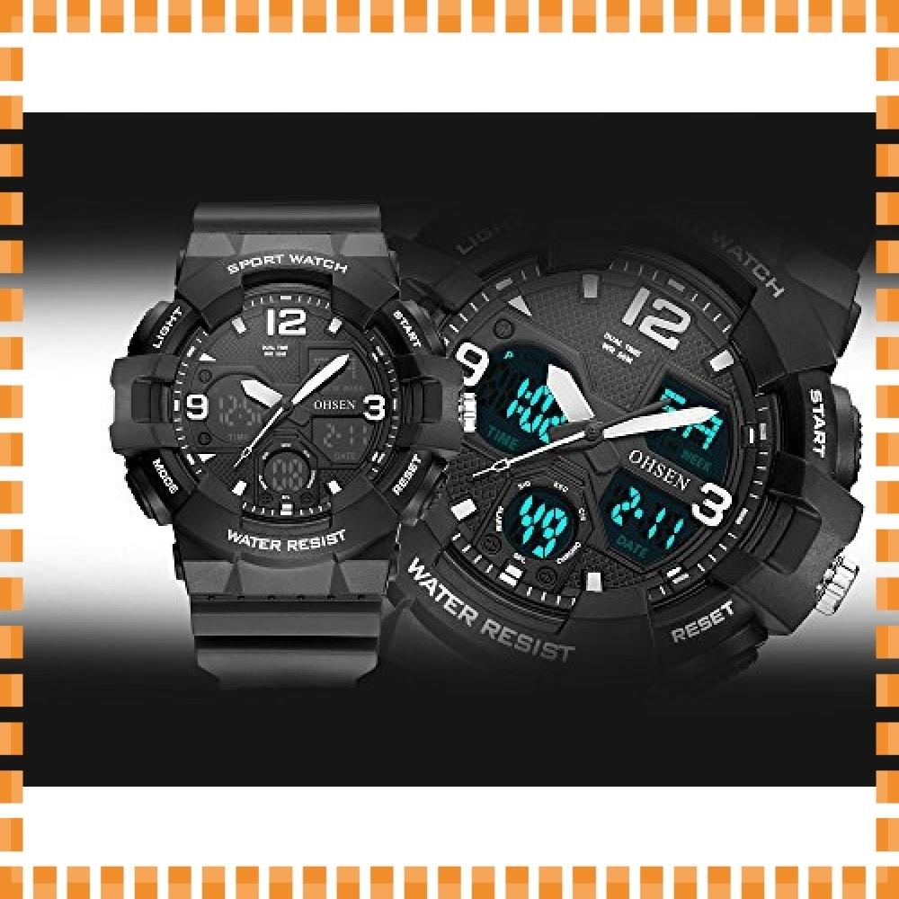 ♪色ブラック デジタル腕時計メンズ ミリタリー アナデジ スポーツウォッチ アラーム ストップウォッチ 曜日 日付表示 多_画像2