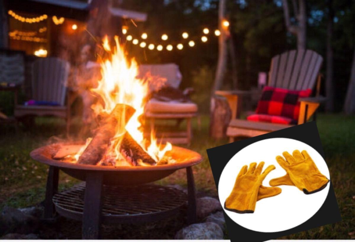 耐熱グローブ 耐熱 手袋 牛革 レザー キャンプ バーベキュー アウトドア 焚火