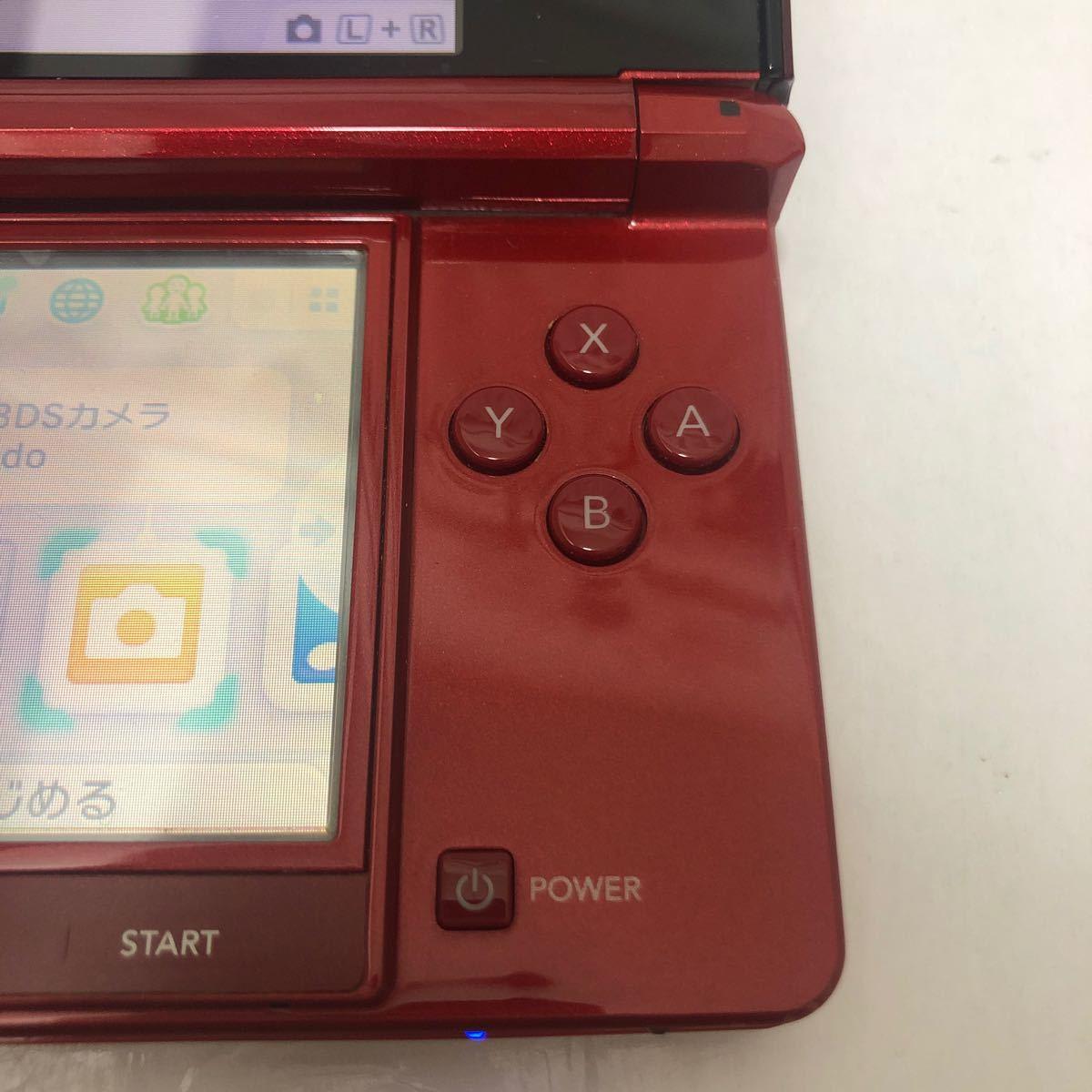 任天堂 ニンテンドー3DS フレアレッド 本体 タッチペン メモリーカード ゲーム起動確認済