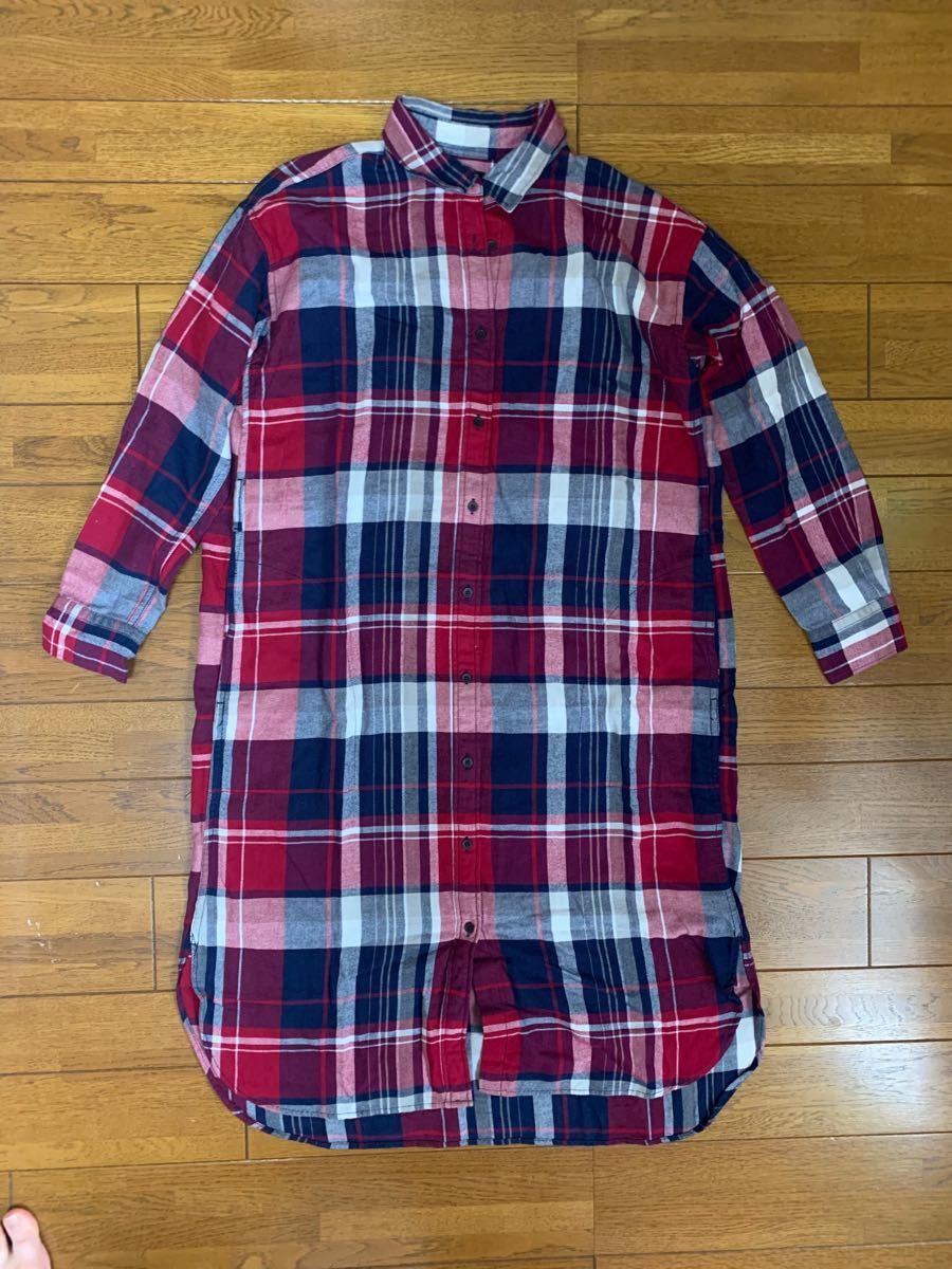 シャツワンピース シャツチュニック チェック柄 チェックシャツ ロングシャツ ロング丈 長袖