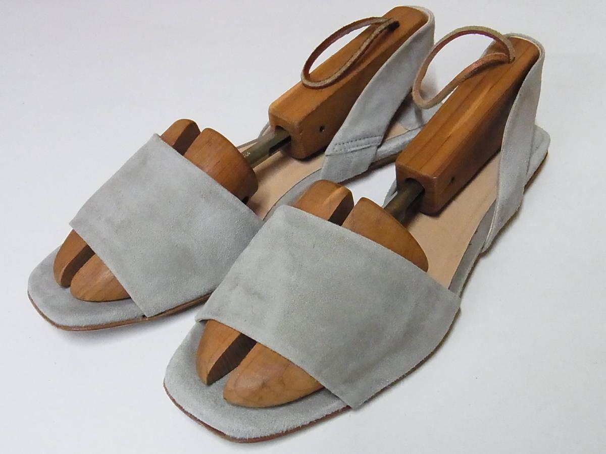 綺麗 FABIO RUSCONI ファビオルスコーニ イタリア製 スエードレザー サンダル ベージュ 靴 37.5_画像1