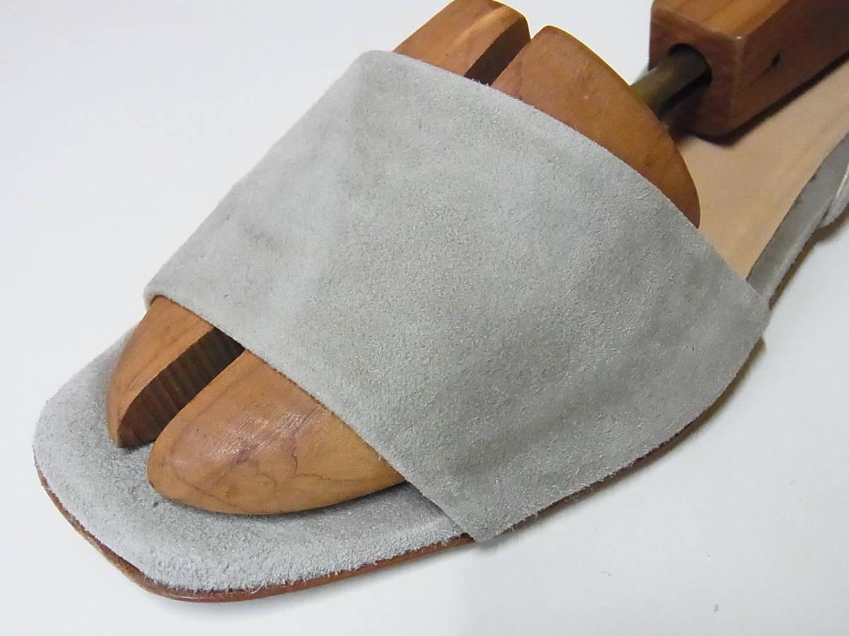 綺麗 FABIO RUSCONI ファビオルスコーニ イタリア製 スエードレザー サンダル ベージュ 靴 37.5_画像5