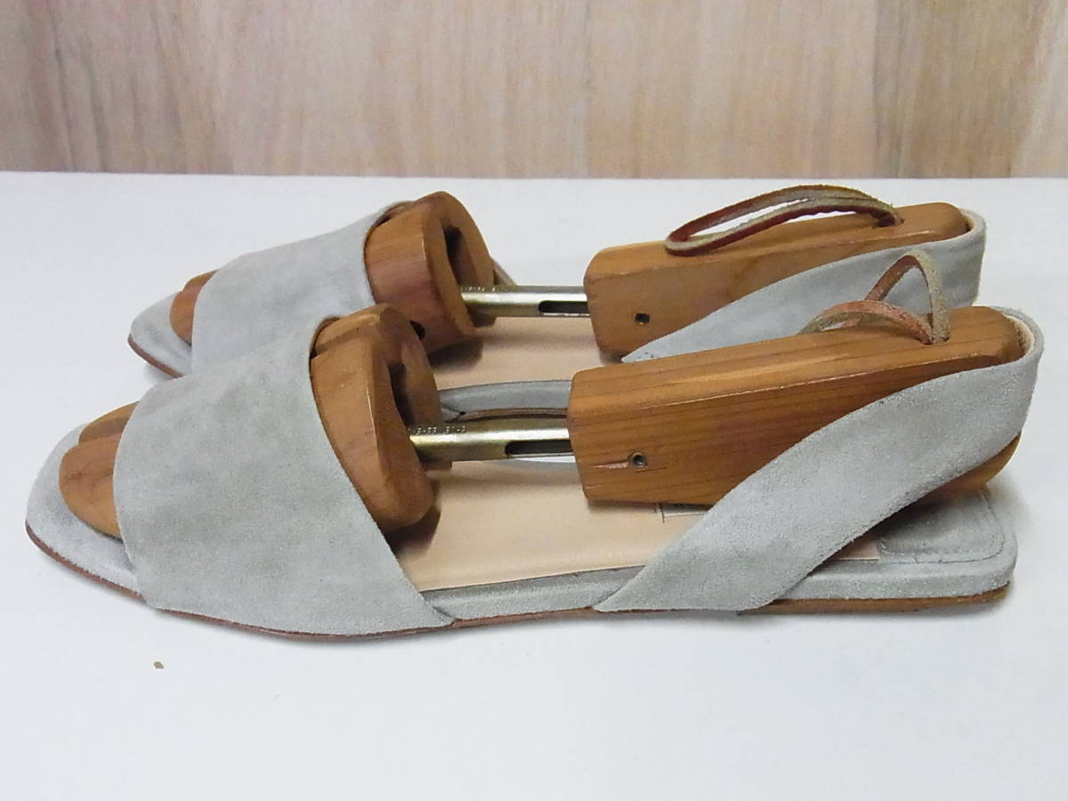 綺麗 FABIO RUSCONI ファビオルスコーニ イタリア製 スエードレザー サンダル ベージュ 靴 37.5_画像2