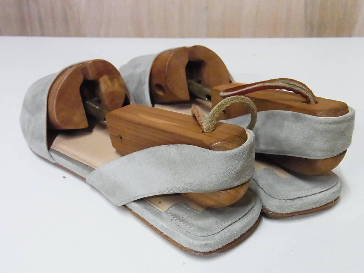 綺麗 FABIO RUSCONI ファビオルスコーニ イタリア製 スエードレザー サンダル ベージュ 靴 37.5_画像3