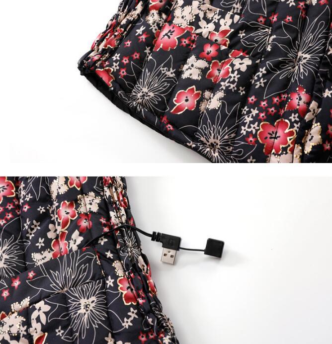 電熱ベスト 花 USB加熱ベスト 防寒着 袖無し 電熱ウェア 5エリア発熱 ヒーターベスト 3段温度調整 水洗い可能 秋冬用 女 サイズ3XL frf-16_画像7