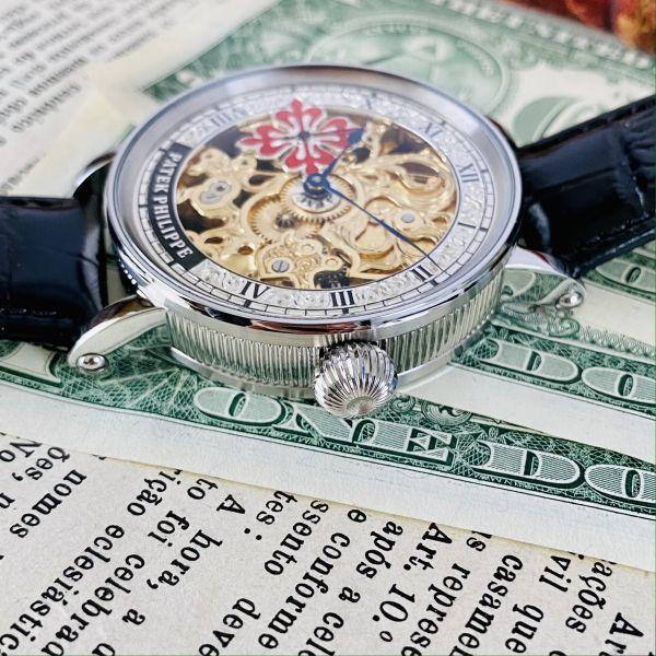 ★OH済★パテックフィリップ 彫金 スケルトン15石 手巻き 腕時計 アンティーク ビンテージ メンズ 高級 ゴールド 動作良好 豪華 スモセコ_画像4