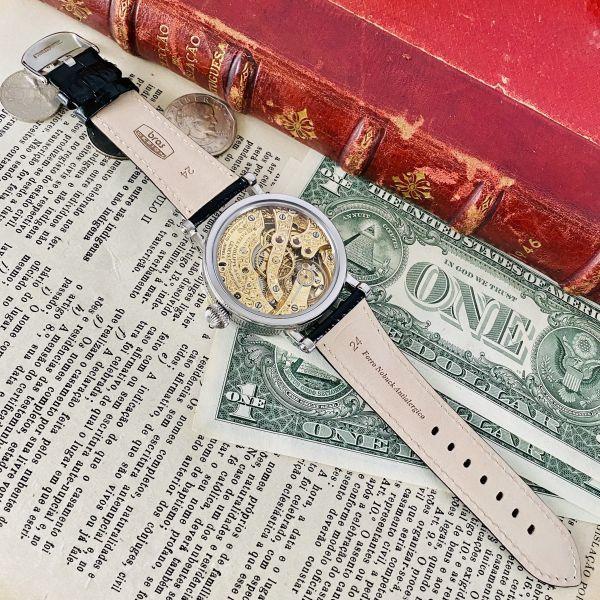 ★OH済★パテックフィリップ 彫金 スケルトン15石 手巻き 腕時計 アンティーク ビンテージ メンズ 高級 ゴールド 動作良好 豪華 スモセコ_画像8