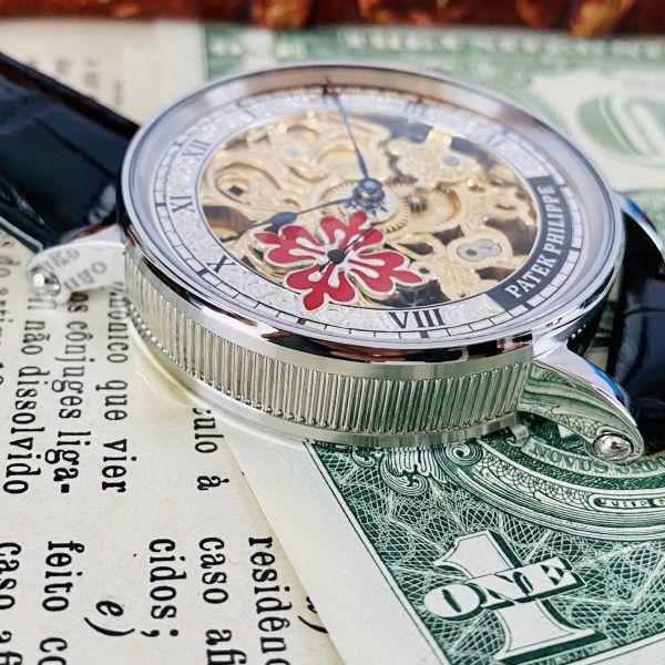 ★OH済★パテックフィリップ 彫金 スケルトン15石 手巻き 腕時計 アンティーク ビンテージ メンズ 高級 ゴールド 動作良好 豪華 スモセコ_画像6